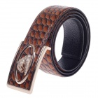 Fashionable Stone Texture Head Layer Cowhide Leather Men's Waist Belt w/ Zinc Alloy Buckle - Brown
