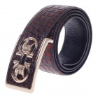 Fashionable Stone Texture Head Layer Cowhide Men's Waist Belt w/ Zinc Alloy Buckle - Brown