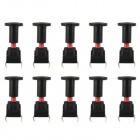 Jtron 10 x 10mm Hooded Waterproof Tact Switch - Black (10 PCS)