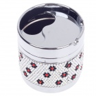 Zinc Alloy Flower Pattern Rotary Cover Ashtray w/ Rhinestone Decoration - Silver + Black + Red