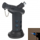 MENGHU 4675 High Quality Windproof Dual Outlet Lighter w/ Cover & Base - Black + Blue