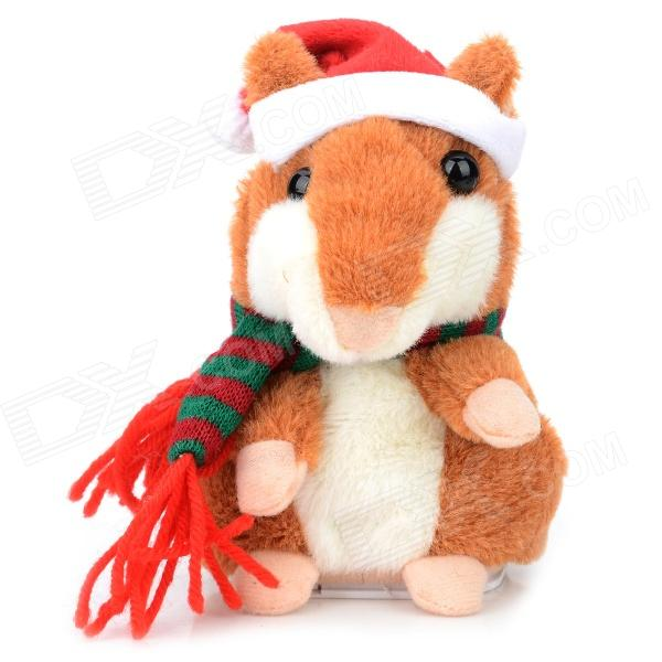 YSDX-901 Christmas Plush Hamster Talking & Wagging Toy - Brown (3 x AAA) ysdx 811 video version mimicry pet talking hamster plush toy for kids grey light yellow pink