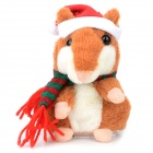 YSDX-901 Christmas Plush Hamster Talking & Wagging Toy - Brown (3 x AAA)
