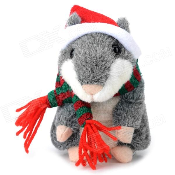 YSDX-902 Christmas Plush Hamster Talking & Wagging Toy - Grey (3 x AAA) ysdx 811 video version mimicry pet talking hamster plush toy for kids grey light yellow pink