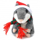 YSDX-902 Christmas Plush Hamster Talking & Wagging Toy - Grey (3 x AAA)