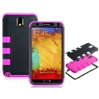 Robot Design Silicone + Plastic Back Case Stand for Samsung Galaxy Note 3 N9000 - Black + Deep Pink