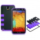 Robot Design Silicone + Plastic Back Case Stand for Samsung Galaxy Note 3 N9000 - Purple + Black