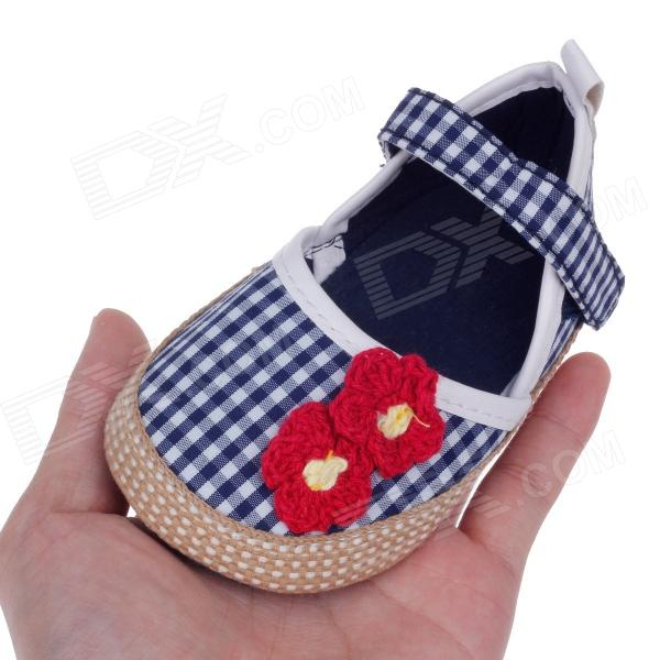 Cute Red Flower Cotton PU Baby Shoes Blue White