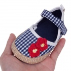 Cute Red Flower Cotton + PU Baby Shoes - Blue + White + Red (9~12 Months / Pair)