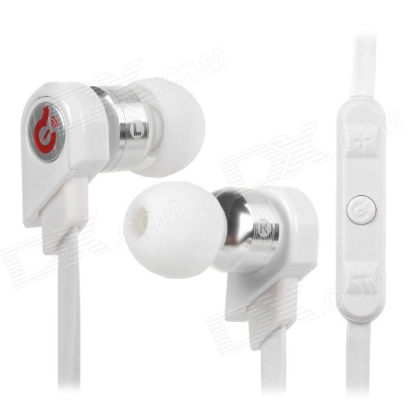 Syllable G02I-002 Stylish In-Ear Earphones w/ Microphone / Cable Control for Iphone / Ipad - White stylish headset w microphone volume control for dell mini 5 streak 3 5mm jack 120cm cable
