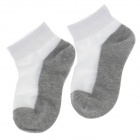 100% Cotton Fashionable Children Socks - White + Grey (Pair / 10-12cm )