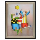 SYVIO Three Disco Kids Patterned Handmade Oil Painting with Wood Frame - Multicolored