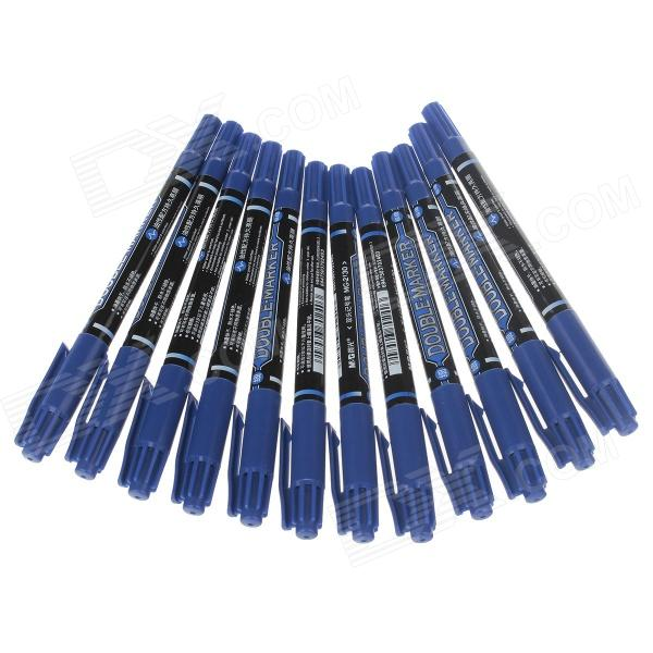 M&G MG-2130 Dual Heads Oil Pen - Blue (12 PCS) от DX.com INT