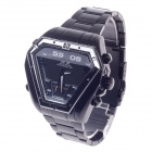 WEIDE WH-1102 Quartz & LED Electronics Dual Time Display Men's Wrist Watch - Black + Silver