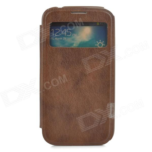 Protective PU Leather Case for Samsung Galaxy S4 - Brown