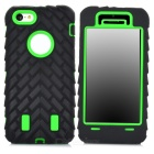 Detachable 3-in-1 Protective Plastic + Silicone Case for Iphone 5C - Green + Black