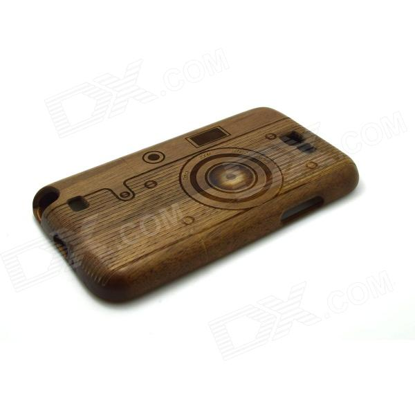 Retro Camera Style Detachable Protective Wooden Back Case for Samsung Galaxy Note 2 N7100 - Brown 2 in 1 detachable protective tpu pc back case cover for samsung galaxy note 4 black