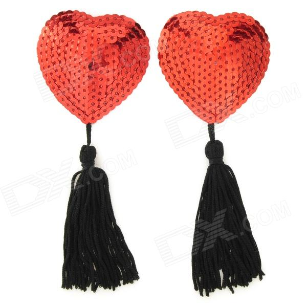 Stylish Heart Style Women's Tassels Nipple Sticker Pasties - Red + Black (2 PCS)
