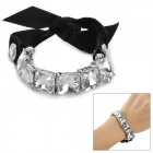 Stylish Bowknot Style Silks and Satins + Rhinestone Women's Bracelet - Black + Silver