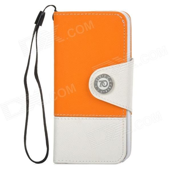 Protective PU Leather + Plastic Case for Iphone 5 - Orange + White wallet style protective pu leather case w card holder slots hand strap for iphone 5 orange