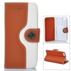 Protective PU Leather + Plastic Case for Iphone 5 - Brown + White