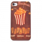 Popcorn Pattern Stylish Plastic Back Case for Iphone 4 / 4S - Coffee + Khaki + Red