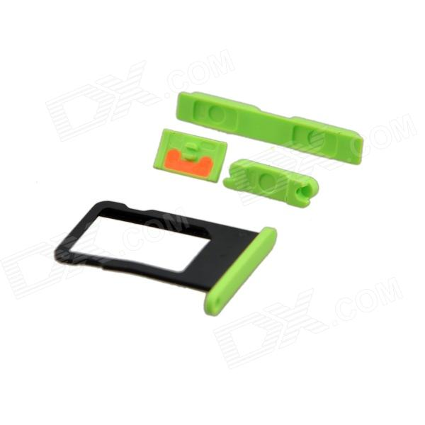 Replacement SIM Card Tray + Volume Button + Mute Button + Switch Button for Green Iphone 5C - Green genuine iphone 4 repair parts replacement mute button volume button power button