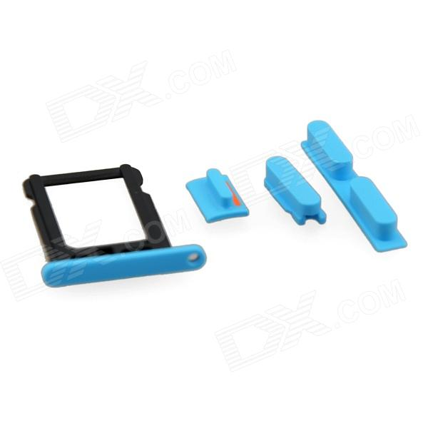 Replacement SIM Card Tray + Volume Button + Mute Button + Switch Button for Blue Iphone 5C - Blue genuine iphone 4 repair parts replacement mute button volume button power button