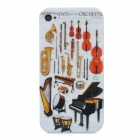 Musical Instruments Pattern Plastic Back Case for Iphone 4 / 4S - White + Black + Red + Golden