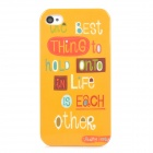 Words Pattern Stylish Plastic Back Case for Iphone 4 / 4S - Yellow