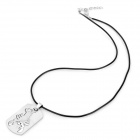 Stylish PU Leather Chain Titanium Steel Pendant Punk Necklace - Silver + Black