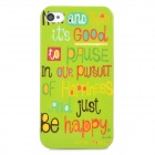 Word Pattern Stylish Plastic Back Case for Iphone 4 / 4S - Green