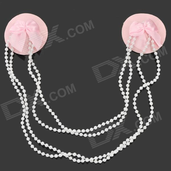 Stylish Bowknot Style Auto-Stick Women's Nipple Sticker Pasties - White + Pink
