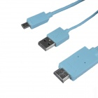 AYA-081 MHL Micro USB to HDMI HDTV Adapter Cable for Samsung Galaxy Note 3 N9000 - Blue (125cm)