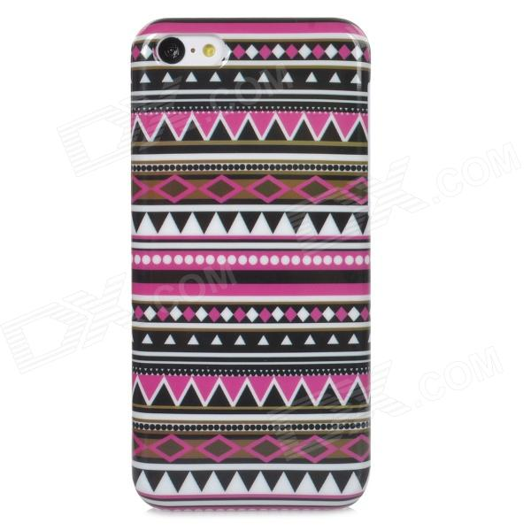 Stylish Tribal Ethnic Style Protective Plastic Back Case for Iphone 5C - Purple + Black + White relief tribal ethnic style protective plastic back case for iphone 4 blue white red