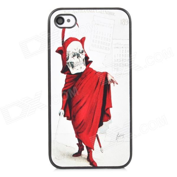 купить Cool Skeleton Style Protective PC Back Case for Iphone 4 / 4S - White + Red + Black недорого