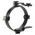 O-Shaped Aluminum Alloy Dual Hotshoe Holder for Speedlite / Camera - Black