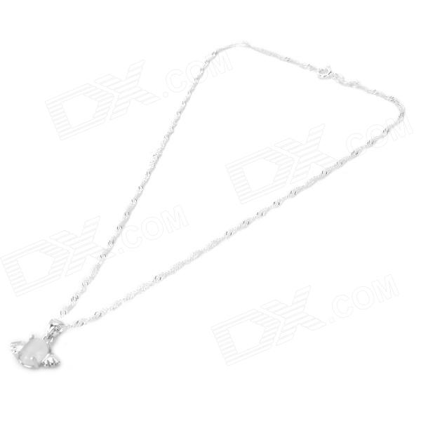 TSD-01 Elegant Angel Egg Style Pendant Necklace for Women - Silver - DXNecklaces<br>Brand N/A Model TSD-01 Color Silver Quantity 1 Piece Gender Women Suitable for Adults Chain Material White brass plated platinum Pendant Material Opal Chain Length 40 cm Chain Width 0.4 cm Packing List 1 x Necklace<br>