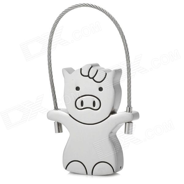 Cute Pig Style Stainless Steel USB 2.0 Flash Drive - Silver + Black (8GB) ka 14 00011 cute smily beech handle stainless steel fork wood color silver