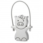 Cute Pig Style Stainless Steel USB 2.0 Flash Drive - Silver + Black (8GB)