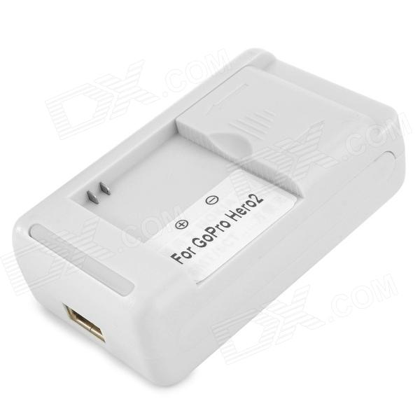 XIANGZHI Y-ST-38 US Plug Battery Charger Cradle w/ USB Port for GoPro Hero 2 - White (AC 240V)
