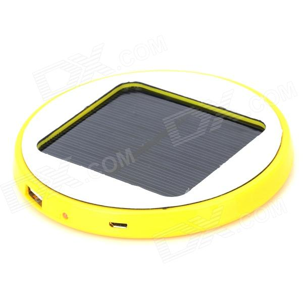 HX-10 Universal Round 5V 1800mAh Li-ion Polymer Battery USB Solar Power Charger - Yellow + White micro usb 5v 1a 18650 lithium battery charger module charging board with protection dual functions 1a li ion