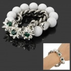 Stylish Flower Style Dual-Layer Zinc Alloy + Plastic Women's Bracelet - Silver + White