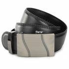 PD611 Fashion Cow Split Leather Men's Waist Belt w/ Zinc Alloy Buckle - Black