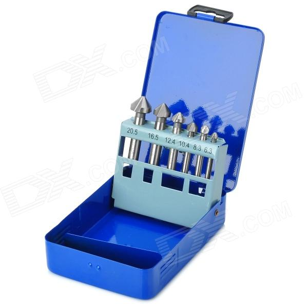 High-Speed Steel 6-in-1 3-Blade Chamfering Tools Set - Blue + Silver free shipping new 6pc 3 flutes 90 degree hss chamfer chamfering cutter end mill drill bits milling metal cutting tool set