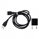USB 3.0 Male to Micro-B Male Cable + AC Power Adapter for Samsung Galaxy Note 3 - Black (110~240V)