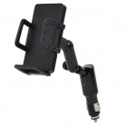 2-in-1 360 Degree Rotatable Mount Holder w/ Car Charger for iPhone + Samsung - Black
