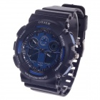 OHSEN AD1012 Men's Sport Analog + Digital Quartz Wrist Watch - Black + Blue (1 x CR-2025)