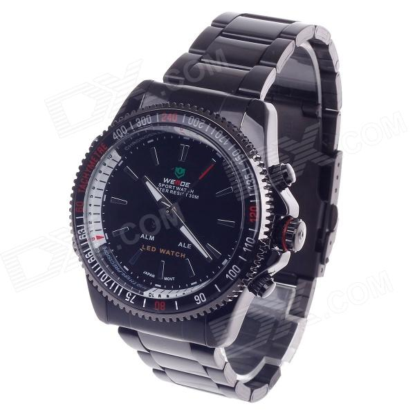 WEIDE WH-903 Men's Quartz & LED Dual Time Display Sport Wrist Watch - Black (1 x CR2016) weide casual luxury genuin new watch men quartz digital date alarm waterproof clock relojes double display multiple time zone