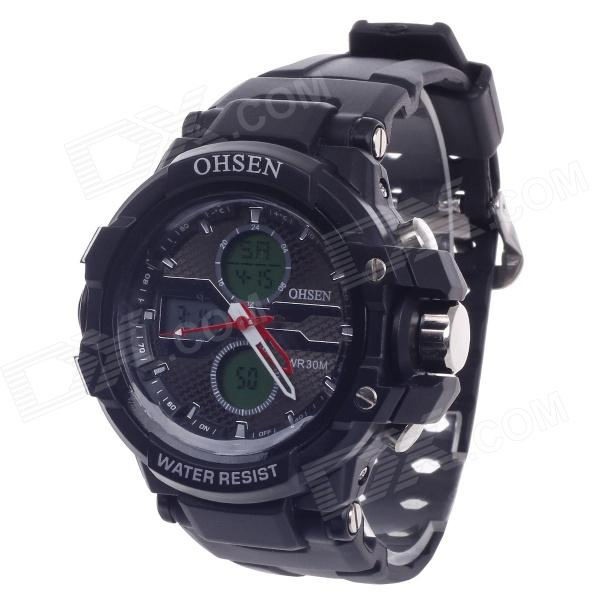 OHSEN AD1306 Stylish Multifunctional Analog + Digital Display Waterproof Men's Wrist Watch - Black